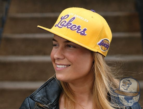 Mitchell & Ness Throwback Script Fitted Hat Lakers
