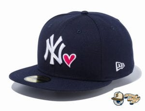 New York Yankees Heart 59Fifty Fitted Hat by MLB x New Era navy