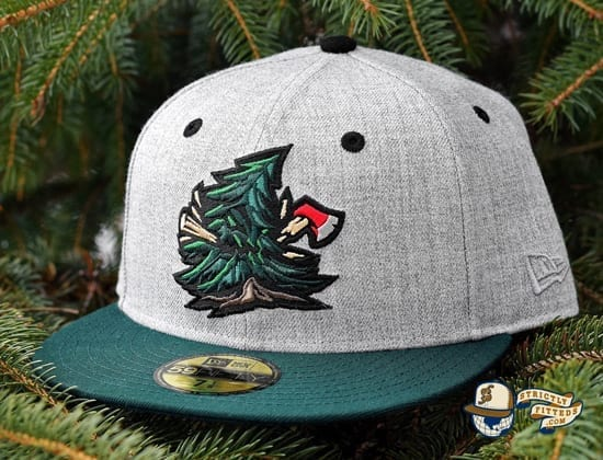 Noble Pines Grey Heather Dark Green 59Fifty Fitted Cap by Noble North x New Era Side