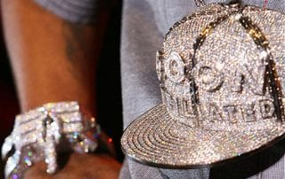 Plies Diamond Encrusted Fitted Baseball Cap Medallion and bracelet