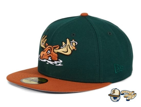 Hat Club Exclusive Missoula Paddleheads Green Burnt Orange 59Fifty Fitted Hat by MiLB x New Era flag side