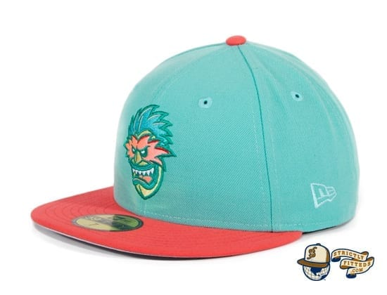 Hat Club Exclusive Tiki Man 2T Mint Infrared Pink 59Fifty Fitted Hat by Ink Park x New Era flag side