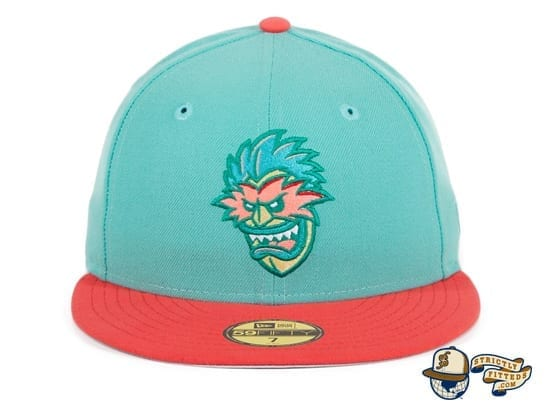 Hat Club Exclusive Tiki Man 2T Mint Infrared Pink 59Fifty Fitted Hat by Ink Park x New Era