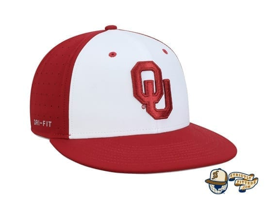 Oklahoma Sooners White Crimson Performance True Fitted Hat by Nike side