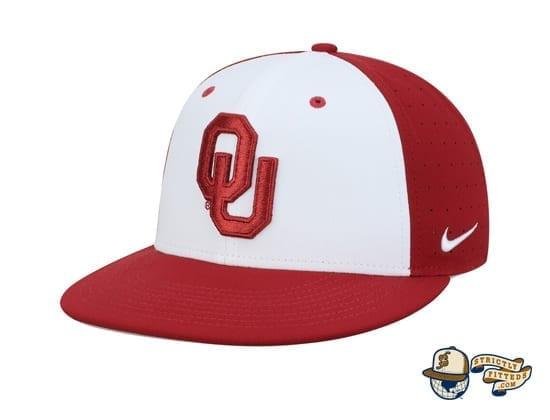 Oklahoma Sooners White Crimson Performance True Fitted Hat by Nike check side