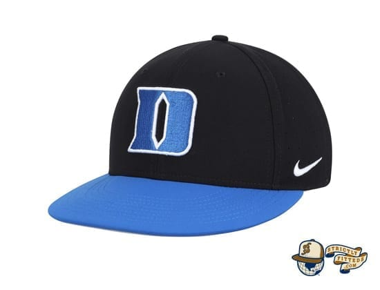 Duke Blue Devils Nike Aerobill Performance True Black Fitted Hat by Nike side