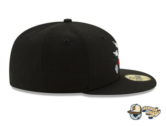 Mickey Mouse Bow And Arrow Black 59Fifty Fitted Cap by Disney x New Era patch side side