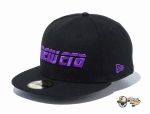 2000s New Era Logo 59Fifty Fitted Cap by New Era black flag side