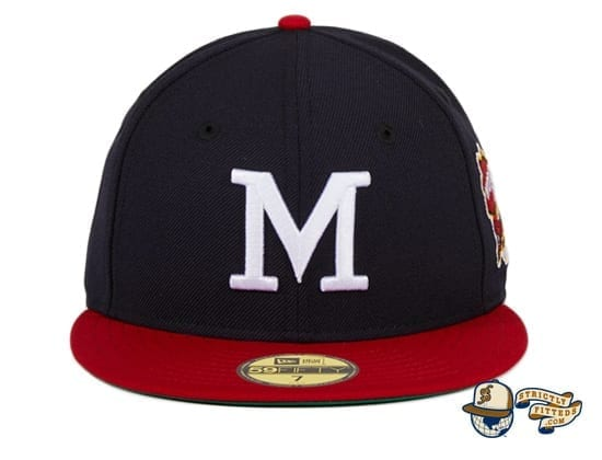 Hat Club Exclusive Milwaukee Braves 1957 World Series Patch Navy Red 59Fifty Fitted Hat by MLB x New Era