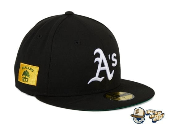 Hat Club Exclusive Oakland Athletics Oakland Flag 59Fifty Fitted Hat by MLB x New Era Patch Side