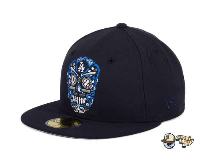 Hat Club Exclusive Sugar Skull 59Fifty Fitted Hat Collection by MLB x New Era flag side dodgers