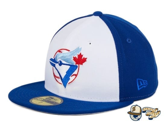 Hat Club Exclusive Toronto Blue Jays 1979 Rail White Royal 59Fifty Fitted Hat by MLB x New Era flag side