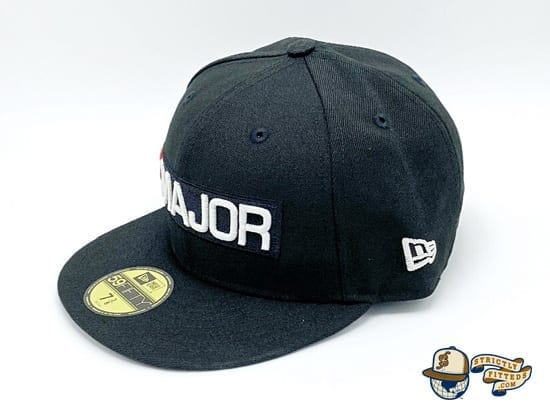 Major Classics Bar Logo Black 59Fifty Fitted Cap by Major x New Era flag side