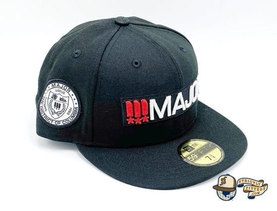 Major Classics Bar Logo Black 59Fifty Fitted Cap by Major x New Era patch side