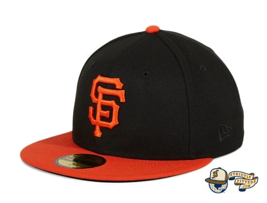 San Francisco Giants 2010 World Series Patch Black Orange 59Fifty Fitted Hat by MLB x New Era flag side