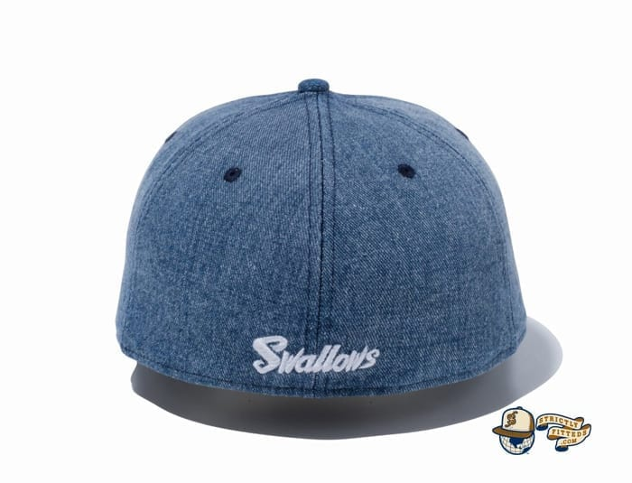 Tokyo Yakult Swallows Mini Logo Washed Denim 59Fifty Fitted Cap by NPB x New Era back