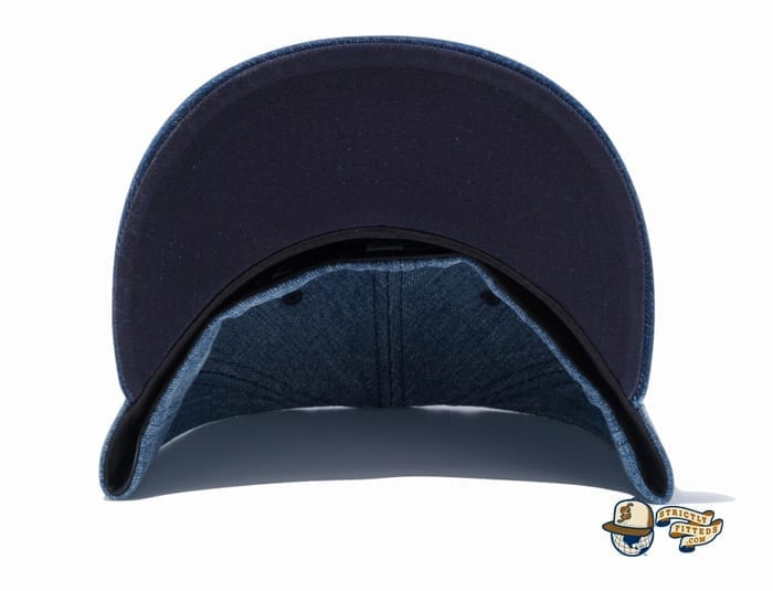 Tokyo Yakult Swallows Mini Logo Washed Denim 59Fifty Fitted Cap by NPB x New Era undervisor