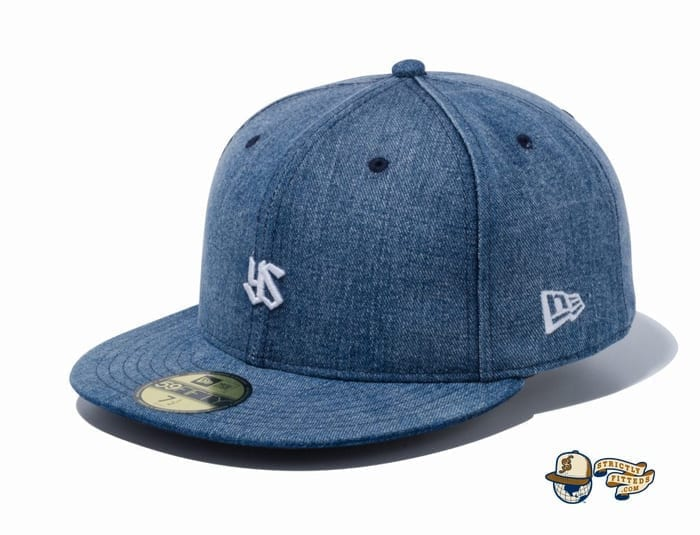 Tokyo Yakult Swallows Mini Logo Washed Denim 59Fifty Fitted Cap by NPB x New Era flag side
