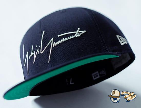 Yohji Yamamoto SS20 Signature Logo Navy 59Fifty Fitted Cap by Yohji Yamamoto x New Era under visor