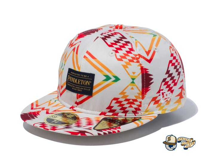 Pendleton Woven Patch All Over Print 59Fifty Fitted Cap by Pendleton x New Era flag side ivory