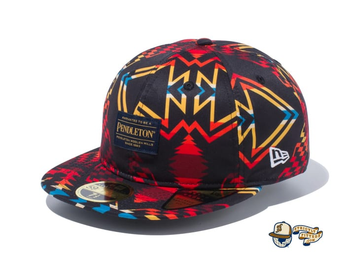 Pendleton Woven Patch All Over Print 59Fifty Fitted Cap by Pendleton x New Era flag side black