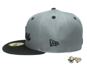Cursive Charcoal Black 59Fifty Fitted Hat by Leaders1354 x New Era Side
