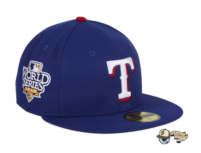 Hat Club Exclusive Texas Rangers 2010 World Series Patch Pink UV 59Fifty Fitted Hat by MLB x New Era