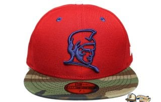 Kamehameha Red Woodland Camo Royal Blue 59Fifty Fitted Cap by Fitted Hawaii x New Era