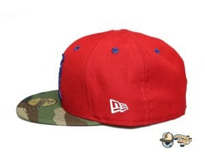 Kamehameha Red Woodland Camo Royal Blue 59Fifty Fitted Cap by Fitted Hawaii x New Era Left