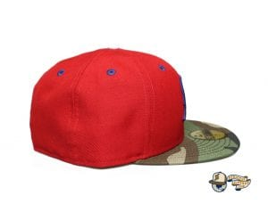 Kamehameha Red Woodland Camo Royal Blue 59Fifty Fitted Cap by Fitted Hawaii x New Era Right
