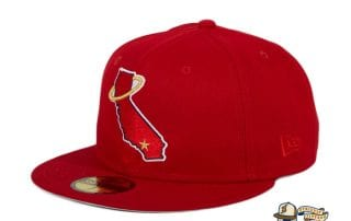 Los Angeles Angels California State Red 59Fifty Fitted Hat by MLB x New Era