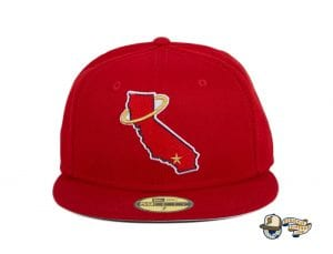 Los Angeles Angels California State Red 59Fifty Fitted Hat by MLB x New Era Front