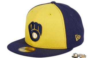 Milwaukee Brewers Alternate Navy Gold 59Fifty Fitted Hat by MLB x New Era