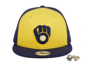 Milwaukee Brewers Alternate Navy Gold 59Fifty Fitted Hat by MLB x New Era Front