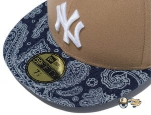 New York Yankees Denim Paisley 59Fifty Fitted Cap by MLB x New Era Khaki