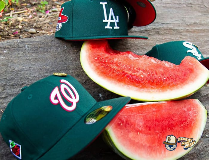 Hat Club Exclusive MLB Watermelon Red UV 59Fifty Fitted Hat Collection by MLB x New Era