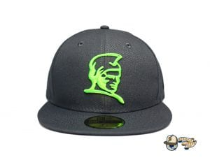 Kamehameha Dark Graphite Neon Green 59Fifty Fitted Cap by Fitted Hawaii x New Era Front