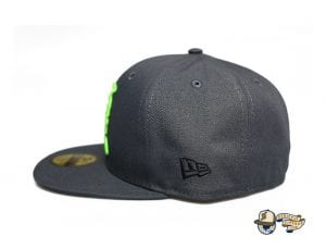 Kamehameha Dark Graphite Neon Green 59Fifty Fitted Cap by Fitted Hawaii x New Era Side