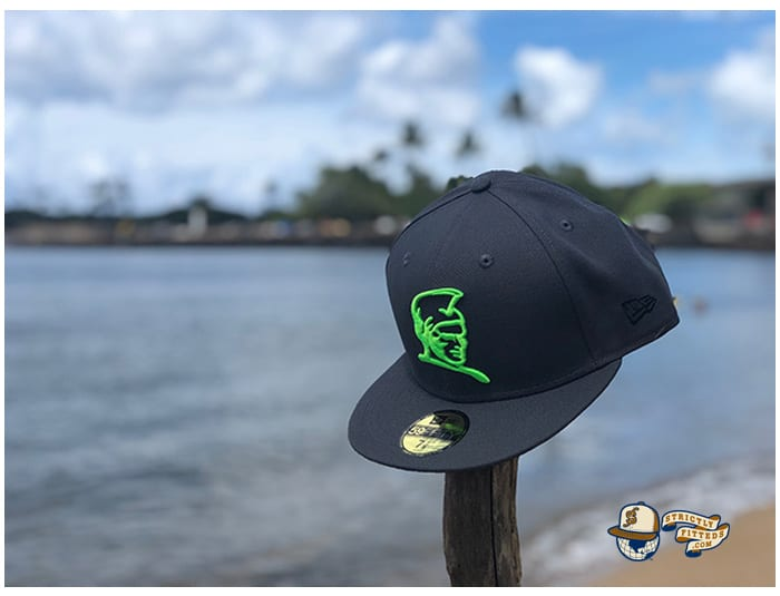 Kamehameha Dark Graphite Neon Green 59Fifty Fitted Cap by Fitted Hawaii x New Era