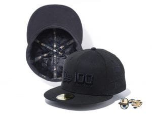 New Era 100th Anniversary Multi Logo Front 59Fifty Fitted Cap by New Era Black