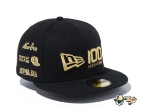 New Era 100th Anniversary Multi Logo Front 59Fifty Fitted Cap by New Era Gold