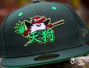 Tengu Warrior Dark Seaweed Island Green 59Fifty Fitted Cap by Dionic x New Era Front