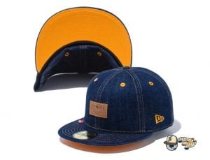 Denim Leather Patch 59Fifty Fitted Cap by New Era