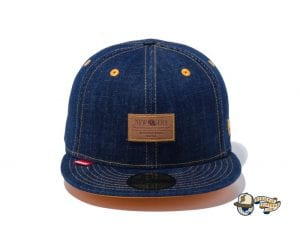 Denim Leather Patch 59Fifty Fitted Cap by New Era Front