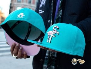 Flamingos Teal Pink 59Fifty Fitted Hat by The Clink Room x New Era Front