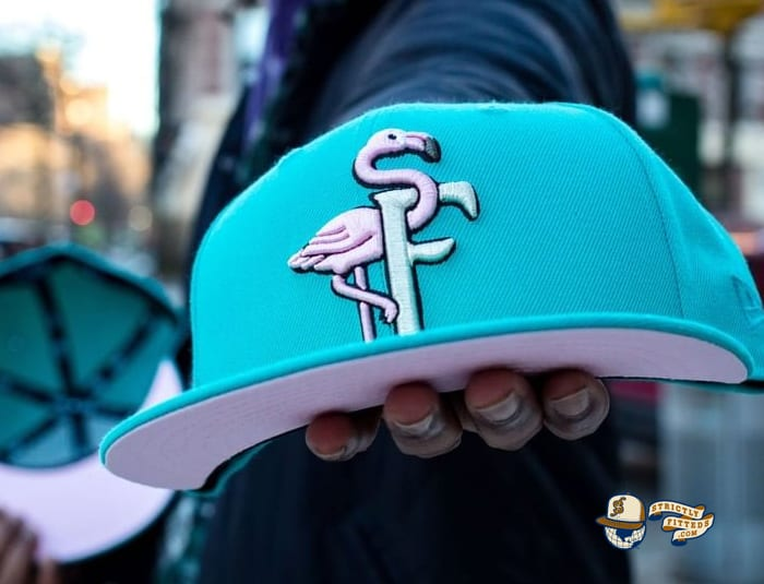 Flamingos Teal Pink 59Fifty Fitted Hat by The Clink Room x New Era