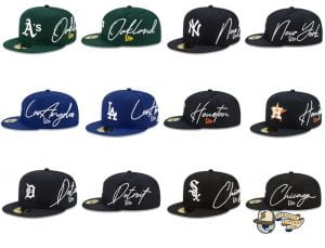 MLB Cursive 59Fifty Fitted Cap Collection by MLB x New Era
