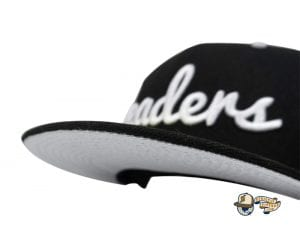 Cursive Black White Silver 59Fifty Fitted Cap by Leaders 1354 x New Era Front