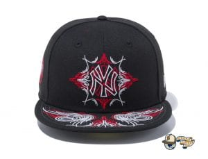 New York Yankees Pinstripes Black Radiant Red 59Fifty Fitted Cap by MLB x New Era Front