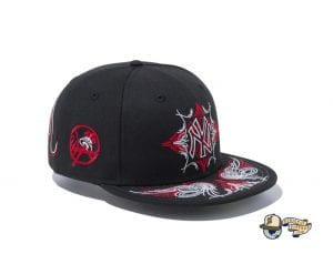 New York Yankees Pinstripes Black Radiant Red 59Fifty Fitted Cap by MLB x New Era Right